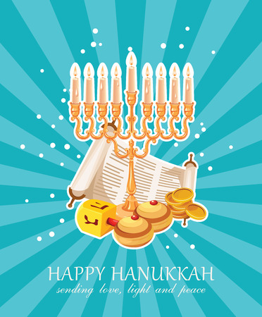 Happy Hanukkah vector greeting card in modern style