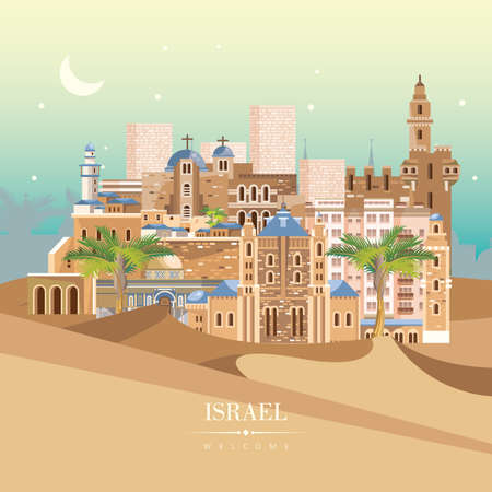 Israel vector banner with jewish landmarks. Travel poster in flat design Banco de Imagens - 91031250