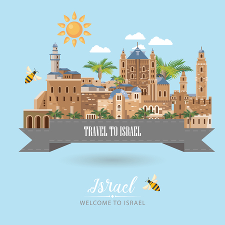 Israel vector banner with jewish landmarks. Travel poster in flat design