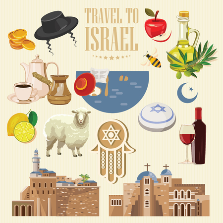 이스라엘 유대인 랜드 마크와 벡터 배너입니다. 평평한 디자인의 여행 포스터 일러스트