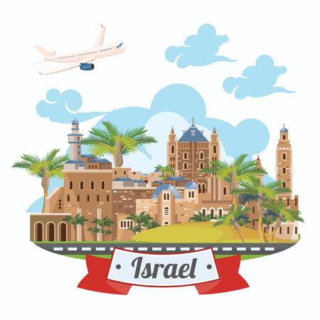 De vectorbanner van Israël met Joodse oriëntatiepunten. Reisposter in plat ontwerp
