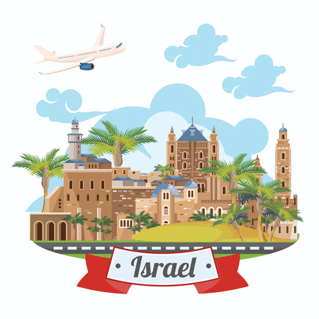 Israel vector banner with jewish landmarks. Travel poster in flat design Фото со стока - 91031260