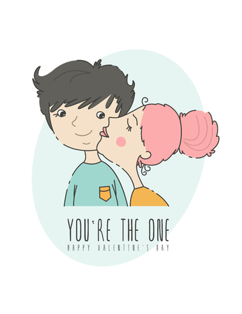 Valentines day greeting card with couple in love in modern flat line art style