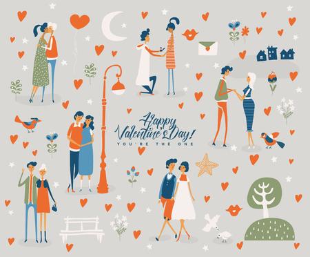 かわいい恋人とバレンタインデーベクトルグリーティングカード。ボーイフレンドとガールフレンドが恋に落ちている。●ヴィンテージスタイルで