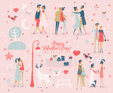 Valentine's Day vector greeting card with cute lovers. Boyfriend and girlfriend are in love. Hand drawn illustration in vintage style.