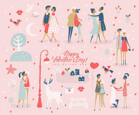 Valentinstagvektorgrußkarte mit netten Liebhabern. Freund und Freundin sind verliebt. Hand gezeichnete Illustration im Vintage-Stil.