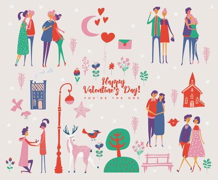 발렌타인 데이 귀여운 연인과 벡터 인사말 카드입니다. 남자 친구와 여자 친구는 사랑에 빠져 있습니다. 손으로 그린 그림 빈티지 스타일입니다.