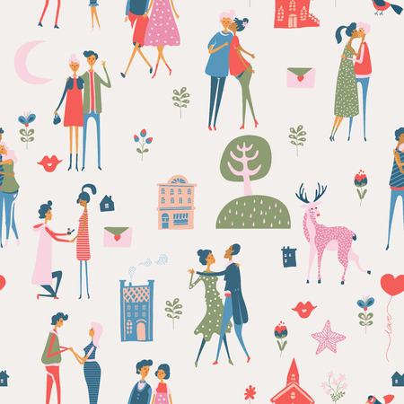 Valentine's Day vector seamless pattern with cute lovers. Boyfriend and girlfriend are in love. Hand drawn illustration in vintage style.