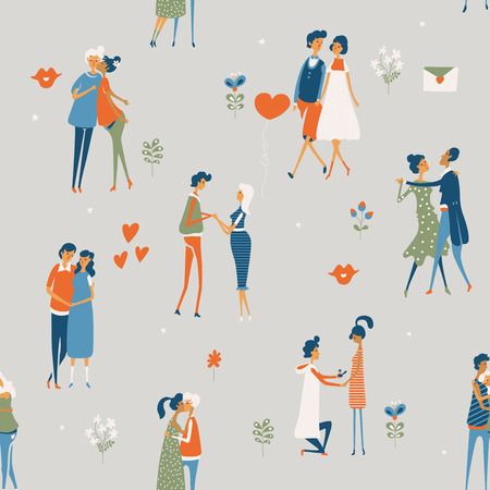 Valentines Day vector seamless pattern with cute lovers. Boyfriend and girlfriend are in love. Hand drawn illustration in vintage style.