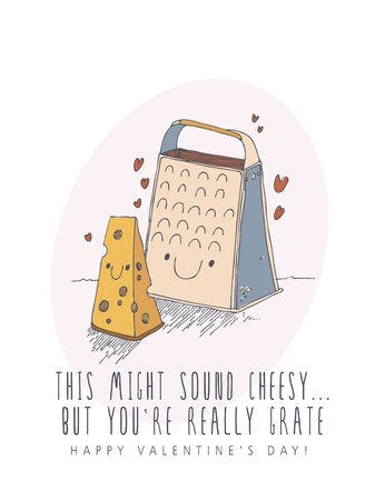 Happy Valentines day creative vector greeting card with cute character in line art style. Doodle holiday background. Love poster with cheese and grater