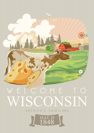 Wisconsin vector illustration. American dairy country. Travel postcard of United States.  US background Zdjęcie Seryjne - 93130307