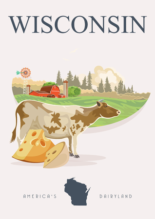 Wisconsin vector illustration. American dairy country. Travel postcard of United States.  US background