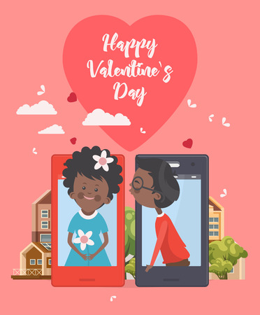 Happy Valentine Day vector illustration. Selfie of young african american couple in love. Phone dating Illustration