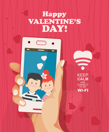 Happy Valentine Day vector illustration. Selfie of young couple in love. Phone dating