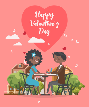 Happy Valentines Day vector illustration. Greeting card with young african american couple in love. Valentines background in flat style.