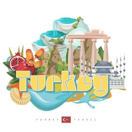Turkey vector vacations illustration with turkish landmarks. Travel agency poster. Фото со стока - 94432196