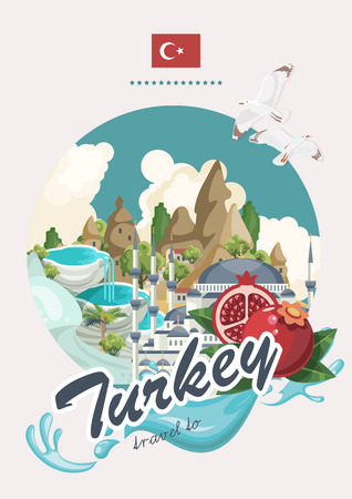 Turkey vector vacations illustration with turkish landmarks. Travel agency poster. Reklamní fotografie - 94432117