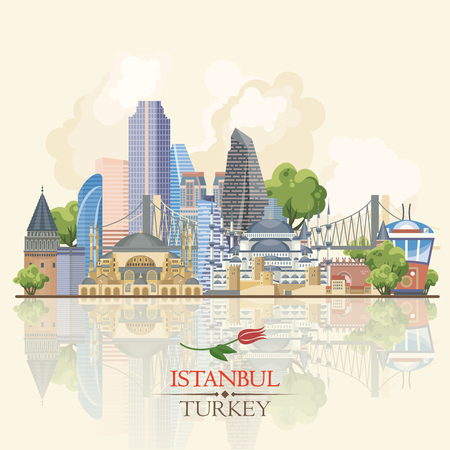 Turkey vector vacations illustration with turkish landmarks. Travel agency poster.