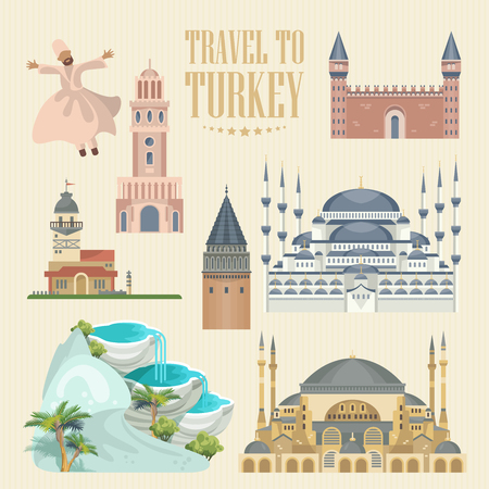 Turkey vector vacations illustration with turkish landmarks. Travel agency poster. Фото со стока - 94432184