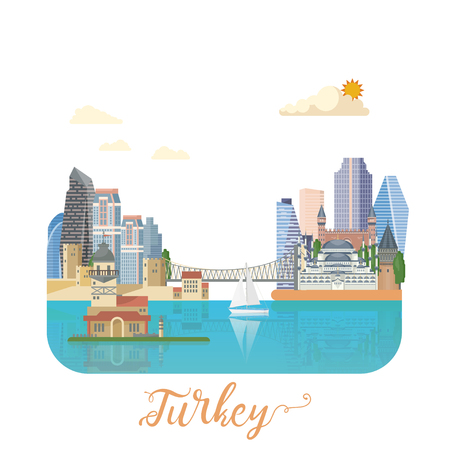 Turkey vector vacations illustration with turkish landmarks. Travel agency poster. Фото со стока - 94432186