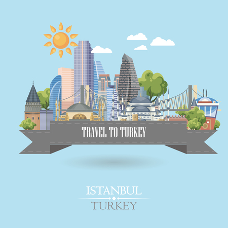 Turkey vector vacations illustration with turkish landmarks. Travel agency poster. Фото со стока - 94432189