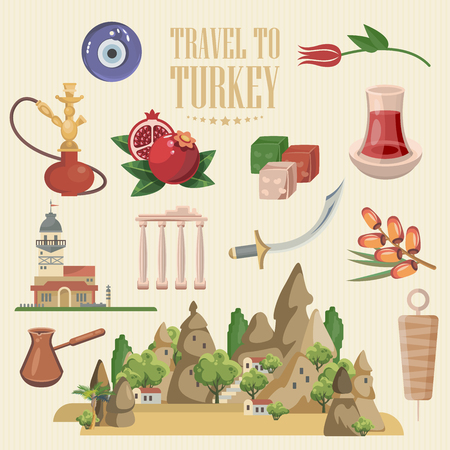 Turkey vector vacations illustration with turkish landmarks. Travel agency poster. Фото со стока - 94432188