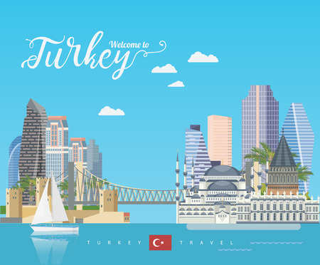 Turkey vector vacations illustration with turkish landmarks. Travel agency poster. Фото со стока - 94432126