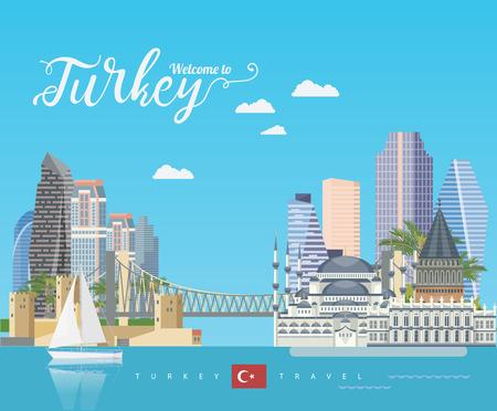 Turkije vector vakanties illustratie met Turkse bezienswaardigheden. Reisbureau poster. Stock Illustratie