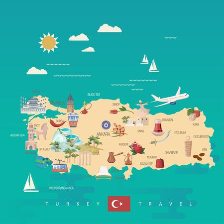 Turcja wektor wakacje ilustracja z tureckimi zabytkami. Plakat biura podróży.