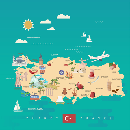 Turkey vector vacations illustration with turkish landmarks. Travel agency poster. Фото со стока - 94432154