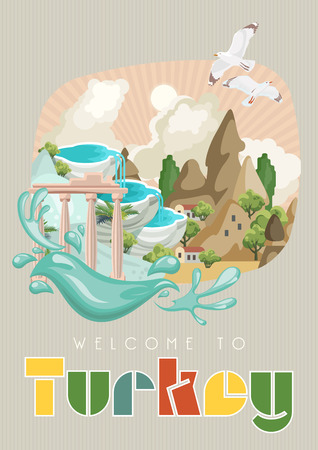 Turkey vector vacations illustration with turkish landmarks. Travel agency poster. Imagens - 94432159
