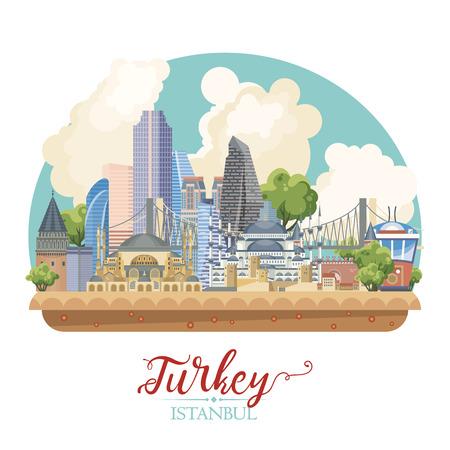 터키 터키 랜드 마크와 벡터 휴가 그림입니다. 여행사 포스터.