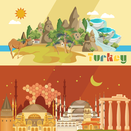 Turkey vector vacations illustration with turkish landmarks. Travel agency poster. Фото со стока - 94432195