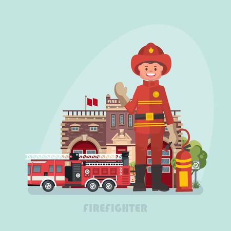 Vector illustration with firefighter. Modern flat design Stock Illustratie