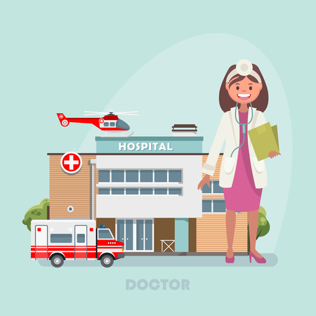 Vector illustration with hospital and doctor. Modern flat design Vettoriali