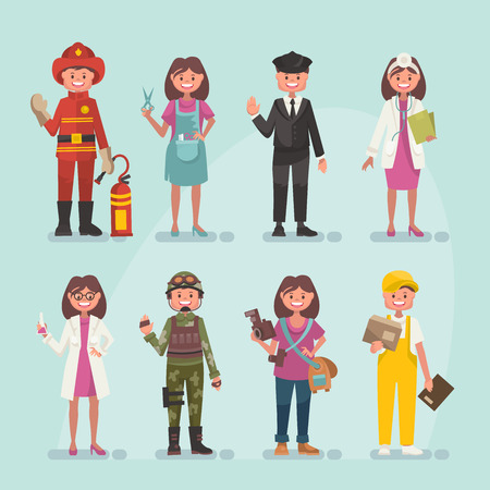 Set of professions in modern flat style Illustration