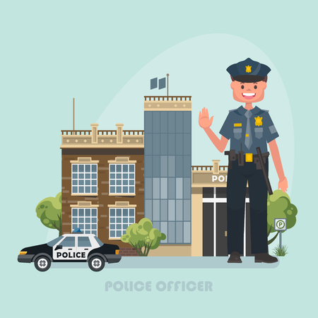 Vector illustration with police officer