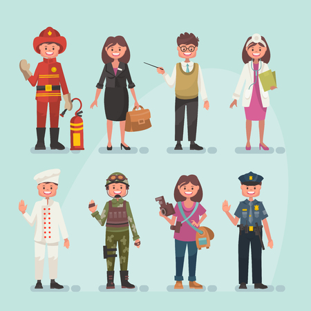 Set of vector occupations in modern flat style