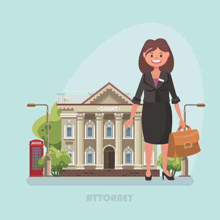 Vector illustration with building of court and attorney Иллюстрация
