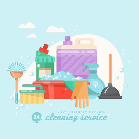 Cleaning service vector illustration in modern flat design.