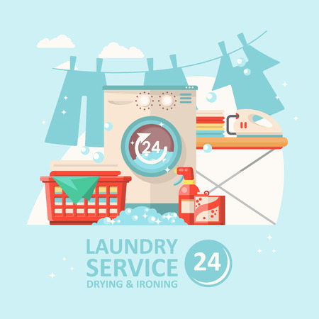 Laundry service vector illustration in flat modern design. Cleaning concept