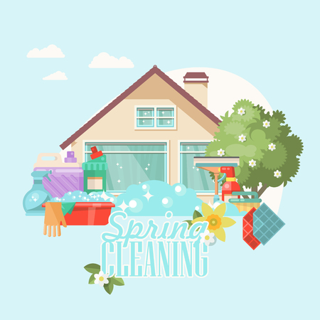 Spring cleaning vector illustration in modern flat style. Stock Illustratie