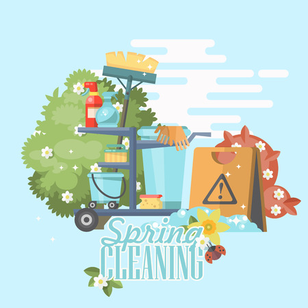 Spring cleaning vector illustration in modern flat style. Stock Vector - 96107149