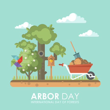Arbor day vector flat illustration with tree and forest.