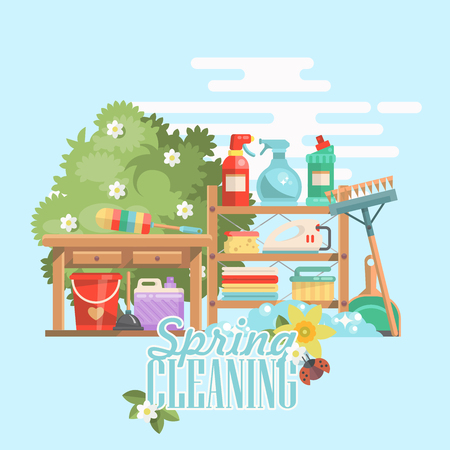 Spring cleaning vector illustration in modern flat style. Illustration