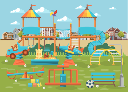 Play ground vector illustration in flat design. Stock Illustratie