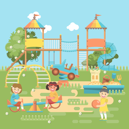 Play ground vector illustration in flat design. Preschool yard with toys Foto de archivo - 96674004