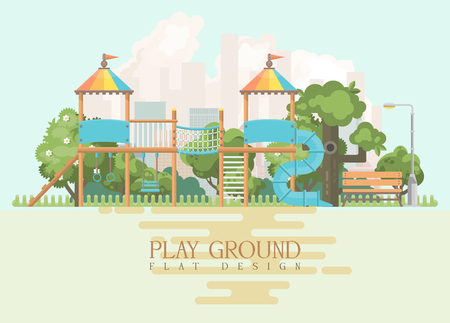 Play ground vector illustration in flat design. Preschool yard with toys