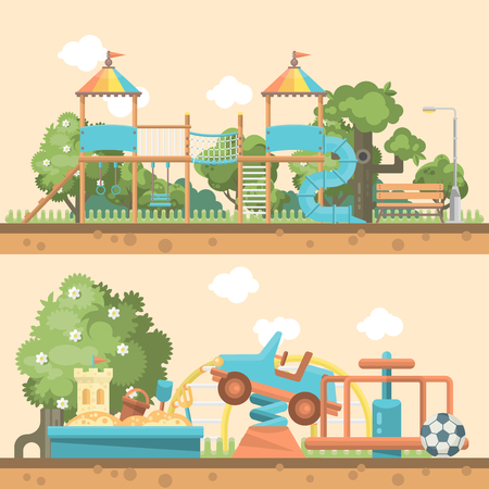 Play ground vector illustration in flat design, Preschool yard with toys.