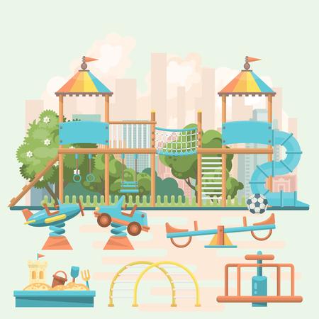 Play ground vector illustration in flat design. Preschool yard with toys Reklamní fotografie - 96674011